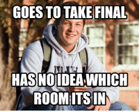 Final, Room, and Its: GOES TO TAKE FINAL  HASNOLDEAWHICH  ROOM ITS IN