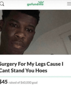 Me🦵irl: gofundme  Surgery For My Legs Cause I  Cant Stand You Hoes  $45 raised of $60,000 goal Me🦵irl