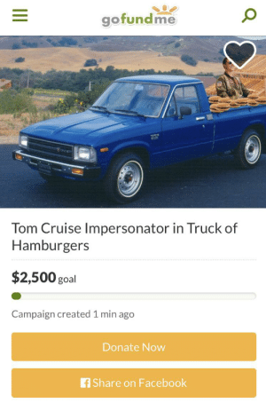 Facebook, Tom Cruise, and Cruise: gofundme  TOTA  Tom Cruise Impersonator in Truck of  Hamburgers  $2,500 goal  Campaign created 1 min ago  Donate Now  fShare on Facebook Great cause