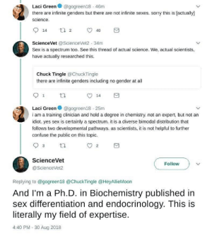 TERF gets schooled on science.: @gogreen18 46m  Laci Green  there are infinite genders but there are not infinite sexes. sorry this is [actually]  science  14  40  ScienceVet@ScienceVet2 34m  Sex is a spectrum too. See this thread of actual science. We, actual scientists,  have actually researched this.  Chuck Tingle@ChuckTingle  there are infinite genders including no gender at all  1  14  Laci Green@gogreen18 25m  i am a training clinician and hold a degree in chemistry. not an expert, but not an  idiot. yes sex is certainly a spectrum. it is a diverse bimodal distribution that  follows two developmental pathways. as scientists, it is not helpful to further  confuse the public on this topic.  2  ScienceVet  Follow  @ScienceVet2  Replying to @gogreen18 @ChuckTingle @HeyllieMoon  And I'm a Ph.D. in Biochemistry published in  sex differentiation and endocrinology. This is  literally my field of expertise  4:40 PM- 30 Aug 2018 TERF gets schooled on science.