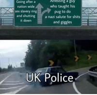 Police, Sex, and Nazi: Going after a  nation wide  sex slavery ring  Arresting a guy  who taught his  pug to do  and shutting a nazi salute for shits  it down  and giggles  UK Police