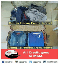 Be Like, Meme, and Memes: Going Home From Hostel  Going To Hostel From Home  All Credit goes  to MoM.  K @DESIFUN 증@DESIFUN  @DESIFUN DESIFUN.COM Twitter: BLB247 Snapchat : BELIKEBRO.COM belikebro sarcasm meme Follow @be.like.bro
