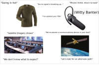 """Central Command Starterpack: """"Going in hot""""  """"Mission failed, return to base""""  """"You're signal is breaking up...""""  (Witty Banter)  """"i've updated your PDA""""  """"We've placed a communications device in your skull""""  """"Satelite Imagery shows""""  """"We don't know what to expect""""  """"Let's look for an alternate path"""" Central Command Starterpack"""