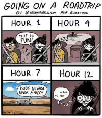 Memes, Buzzfeed, and Artist: GOING ON A ROADTRIP  By @HANNAHLLAm FoR BuzzFEED  HouR 1HOUR 4  THIS IS  FUN!  l/  HOUR 7 HOUR 12  DOES NEVADA  EVER END?!  WANT  To DIE (artist: @hannahhillam) what's the longest road trip you've been on?