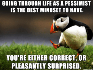 ¯\_(ツ)_/¯: GOING THROUGH LIFE AS A PESSIMIST  IS THE BEST MINDSET TO HAVE  YOU'RE EITHER CORRECT,OR  PLEASANTLY SURPRISED  e on imgur ¯\_(ツ)_/¯