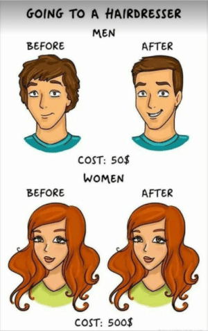 😂😂😂  : GOING TO A HAIRDRESSER  MEN  BEFORE  AFTER  COST: 50$  WOMEN  BEFORE  AFTER  COST: 50o$   😂😂😂