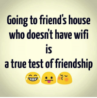 Friends, Memes, and True: Going to friend's house  who doesn't have wift  IS  a true test of friendship  who doesnt have wif