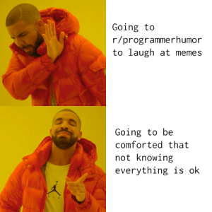 Why I go to r/ProgrammerHumor: Going to  r/programmerhumor  to laugh at memes  Going to be  comforted that  not knowing  everything is ok  AI Why I go to r/ProgrammerHumor