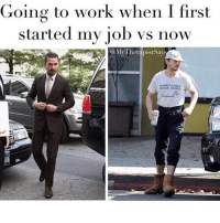 Memes, Work, and Games: Going to work when I first  started my iob vs now  @MyTherapist Say  PENNSYLVANIA  SUNIOR GAMES Literally me! 😂
