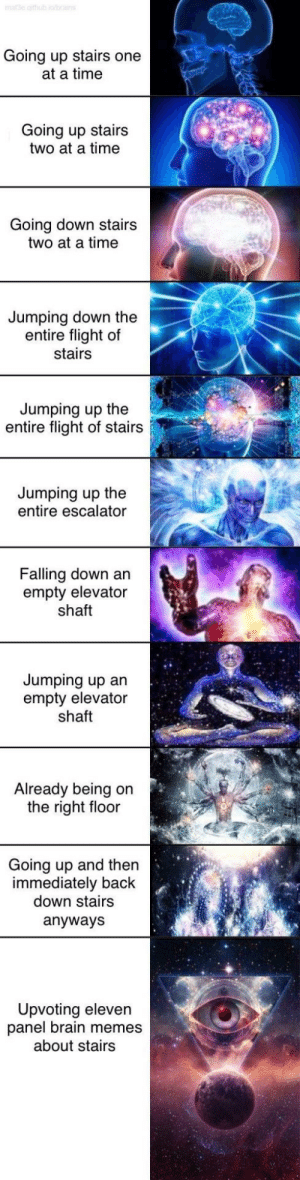 Are stair memes still relevant? by dylanmelvin5 MORE MEMES: Going up stairs one  at a time  Going up stairs  two at a time  Going down stairs  two at a time  Jumping down the  entire flight of  stairs  Jumping up the  entire flight of stairs  Jumping up the  entire escalator  Falling down an  empty elevator  shaft  Jumping up an  empty elevator  shaft  Already being on  the right floor  Going up and then  immediately back  down stairs  anyways  Upvoting eleven  panel brain memes  about stairs Are stair memes still relevant? by dylanmelvin5 MORE MEMES