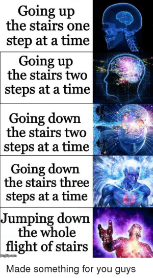 Flight, Time, and Com: Going up  the stairs one  step at a time  Going up  the stairs two  steps at a time  Going down  the stairs two  steps at a time  Going down  | the stairs three  steps at a time  Jumping down  the whole  flight of stairs  imgilip.com  Made something for you guys
