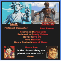 "Family, Goku, and Memes: Goku  Bruce Lee  Fictional Character  Real Person  Practiced Martial Arts  Believed in Family Values  Never Gave Up  Pure Hearted  Has a Statue Made of Them  Bruce Lee  is the closest thing our  planet has ever had to  Goku That's the GOAT - ""It is not joy that makes us grateful. It is gratitude that makes us joyful."""
