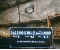 Diamond, Masturbation, and Gold: GOLD DIAMOND RING OF MASTURBATION  ARMOR 0 EGHT 0.3 VALUE 1676  One-handed anotksdo22%more damage.