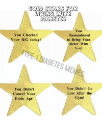 Is there any Gold Stars you would add?    I think I could make a list all day long!   Created by Kayla: GOLD STARS FOR  LIVING WITH  DIABETES  You  You Checked  Remembered  Your BIG today!  to Bring Your  Meter With  You!  HABETES MEM  You Didn't Go  You Didn't  Low After the  Cancel Your  Gym!  Endo Apt! Is there any Gold Stars you would add?    I think I could make a list all day long!   Created by Kayla