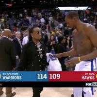 """Kevin Durant, Memes, and Wshh: GOLDEN STATE  ATLANTA  WARRIORS  114 109  HAWKS  FoX  HA """"Some lucky fan's gonna get a jersey from Kevin Durant"""" 😂🏀 @bleacherreport @quavohuncho @kevindurant WSHH"""