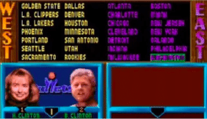 Chicago, Easter, and Los Angeles Lakers: GOLDEN STATE DALLAS  ATLANTA  BOSTON  L.A. CLIPPERS DENUER  CHARLOTTE  CHICAGO  CLEWELAND  SAn ANTONIO DETROT  L.A. LAKERS HOUSTON  PHOENIX  PORTLAND  MINNESOTA  EA YOR  ORLAND  PHILADBL PHIA  SEATTLE  UTAH  SACRAMENTO ROOKIES  ILUER  diets  B.CLINTON  H CLINTON Great Easter Egg - Hidden Roster of Politicans, Celebs, and Developers in NBA Jam Tournament Edition