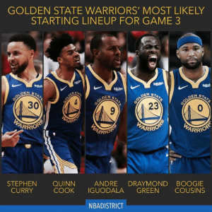 Draymond Green, Golden State Warriors, and Stephen: GOLDEN STATE WARRIORS' MOST LIKELY  STARTING LINEUP FOR GAME 3  Rokut  Rokuten  Rokut  Rakuten  GOLDEN  23  COLDEN  30  STATE  STATE  STATE  STATE  STATE  GOLDEN  GOLDEN  EARRO  PARRIOTS  PARRION  WARRIOR  RRION  BOOGIE  COUSINS  DRAYMOND  GREEN  ANDRE  IGUODALA  QUINN  COOK  STEPHEN  CURRY  NBADISTRICT  GOLDEN With KD out and Klay questionable for Game 3, this is the likely starting lineup. Along with Shaun Livingston, Jacob Evans, Alfonzo McKinnie, Jonas Jerebko, and Jordan Bell off the bench. - Is this enough for Game 3? Who do you have winning it?🤔