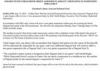 "Cleveland Cavaliers, Draymond Green, and LeBron James: GOLDEN STATE'S DRAY MOND GREEN ASSESSED FLAGRANT 1 RESULTING IN SUSPENSION  FOR GAME 5  Cleveland's James Assessed Technical Foul  OAKLAND, June 12, 2016-Golden State Warriors forward Draymond Green has been assessed a Flagrant Foul  l upon league office review, it was announced today by Kiki VanDeWeghe, Executive Vice President, Basketball  Operations.  In accordance with NBA rules, Green will serve a one-game suspension without pay for accruing his fourth  Flagrant Foul point of the 2016 postseason. He will serve his suspension Monday, June 13 during Game 5 of The  Finals at Oracle Arena.  The incident occurred when Green made unnecessary contact with a retaliatory swipe of his hand to the groin o  Cleveland Cavaliers forward LeBron James with 2:48 remaining in the fourth quarter of the Warriors' 108-97 win  in Game 4 of The Finals at Quicken Loans Arena  Under league rules, any player who accumulates four flagrant foul points over the course of the playoffs  will be automatically suspended for one game, and every additional flagrant foul will result in either a  one-game suspension (for a Flagrant Foul l) or a two-game suspension (for a Flagrant Foul 2).  ""The cumulative points system is designed to deter flagrant fouls in our game"" said VanDeWeghe.  ""While Draymond Green's actions in Game 4 do not merit a suspension as a standalone act, the number  of flagrant points he has earned triggers a suspension for Game 5.  James has been assessed a technical foul upon league office review for his role in the altercation, which included a  physical taunt. Draymond Green suspended for game 5 of the NBA Finals 👀"