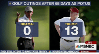 Well he is ahead in one thing...: GOLF OUTINGS AFTER 68 DAYS AS POTUS  TRUMP:  OBAMA:  13  LIVE  MSNBC  THEY STILL INTEND TO HAVE YATES TESTIFY  HOUSE INTELLIGENCE CC 3:49PM MT Well he is ahead in one thing...