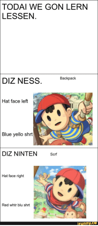 GON LERN LESSEN Backpack DIZ NESS Hat Face Left Blue Yello