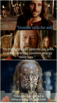 """Energy, Memes, and 🤖: """"Gondor calls for aid!  Gondor calls for aid  """"My thoughts and prayers are with  Gondor. Sending positive energy  their way""""  Theoden has added a  temporary profiebicture"""