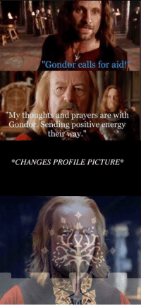 """Malika Haqq And Ronnie: """"Gondor calls for aid!  """"My thoughts and prayers are with  Gondor. Sending positive energy  their way.""""  *CHANGES PROFILE PICTURE*"""