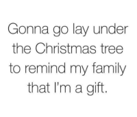 Christmas, Family, and Christmas Tree: Gonna go lay under  the Christmas tree  to remind my family  that I'm a gift.