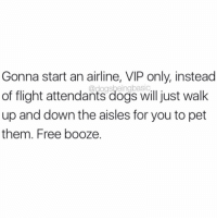 Dogs, Memes, and Flight: Gonna start an airline, VIP only, instead  of flight attendants dogs willjust walk  up and down the aisles for you to pet  them. Free booze.  @dogsbeingbasic The airline you've been waiting for. @dogpartying