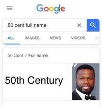 50 Cent, Memes, and News: Gooale  50 cent full name  ALL IMAGES NEWS VIDEO  50 Cent / Full name  50th Century