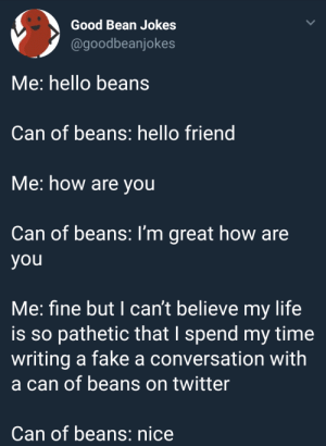 Dank, Fake, and Hello: Good Bean Jokes  @goodbeanjokes  Me: hello beans  Can of beans: hello friend  Me: how are you  Can of beans: I'm great how are  you  Me: fine but I can't believe my life  is so pathetic that I spend my time  writing a fake a conversation with  a can of beans on twitter  Can of beans: nice Me irl by BawBomB FOLLOW HERE 4 MORE MEMES.