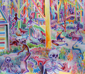 Good conquers evil so I made a painting of puppies defeating an army of skeletons with swords: Good conquers evil so I made a painting of puppies defeating an army of skeletons with swords