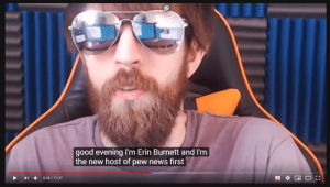 Meme, News, and Good: good evening I'm Erin Burnett and I'm  the new host of pew news first  5:16/11:37  -- Let's get Erin Burnett to host pew news and meme review