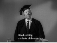 Good, Alfred Hitchcock, and Hitchcock: Good evening  students of the macabre Alfred Hitchcock