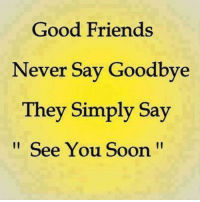 Friends, Memes, and Soon...: Good Friends  Never Say Goodbye  They Simply Say  See You Soon