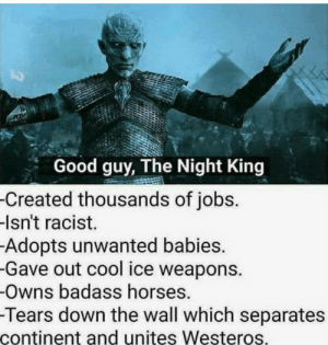 Good guy, The Night King.: Good guy, The Night King  -Created thousands of jobs.  -Isn't racist.  Adopts unwanted babies.  -Gave out cool ice weapons.  -Owns badass horses.  -Tears down the wall which separates  continent and unites Westeros. Good guy, The Night King.