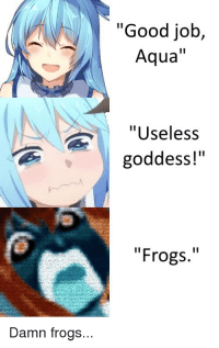 "good job: ""Good job,  Aqua""  ""Useless  goddess!""  ""Frogs.""  Damn frogs..."