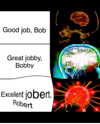 good job: Good job, Bob  Great jobby,  Bobby  Excellent jobeit,  Robert
