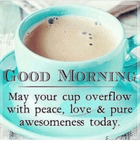 Dank, Love, and Good: GOOD MIORNING  May your cup overflow  with peace, love & pure  awesomeness todav #jussayin