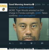 Why Tiger why.....He had options: Good Morning America @GMA-8m v.  Replying to @GMA and @ABC  MORE: Tiger Woods arrested on DUI  charge in Florida overnight, @ABC News  confirms: abcn.ws/2qsbYIV  GMA  abc  わ5  46 27  Good Morning America e @G  ·12m Why Tiger why.....He had options