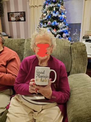 Despite the gift mix-up, Grandma insisted it was perfect for breakfast at her senior living home.: Good  Morning  asshole Despite the gift mix-up, Grandma insisted it was perfect for breakfast at her senior living home.