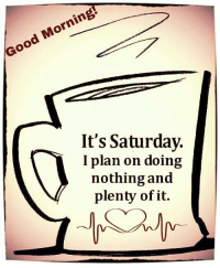 Happy Saturday ~: Good Morning!  It's Saturday.  I plan on doing  nothing and  plenty of it. Happy Saturday ~