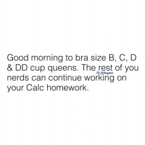 ☕️☕️☕️: Good morning to bra size B, C, D  & DD cup queens. The rest of you  nerds can continue working on  your Calc homework.  iG; @thegainz ☕️☕️☕️