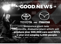 Good news. Companies are coming back to the U.S. in a VERY BIG way. Congratulations Alabama!: GOOD NEWS  TOYOTA AND mazDa  announce giant new  adntsville, Alabama plant which will  -produce over 300,000 cars and SUVs  a year and employ 4,000 people. Good news. Companies are coming back to the U.S. in a VERY BIG way. Congratulations Alabama!