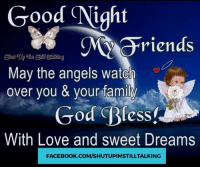 good night: Good Night  riends  May the angels watch  over you & your family  God Bless.  With Love and sweet Dreams  FACEBOOK.COM/SHUTUPIMSTILLTALKING