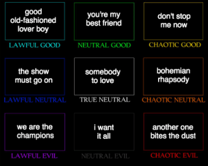 Another One, Best Friend, and Love: good  old-fashioned  lover boy  you're my  best friend  don't stop  me now  LAWFUL GOOD  NEUTRAL GOOD  CHAOTIC GOOD  the shovw  must go oin  somebody  to love  bohemiarn  rhapsody  LAWFUL NEUTRAL  TRUE NEUTRAL  CHAOTIC NEUTRAL  we are the  champions  i want  it al  another one  bites the dust  LAWFUL EVIL  NEUTRAL EVIL  CHAOTIC EVIL