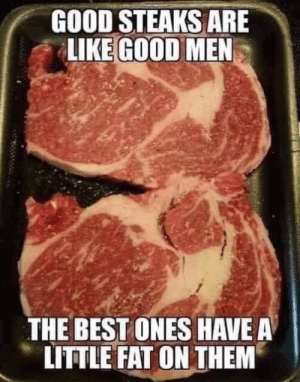 Memes, Best, and Good: GOOD STEAKS ARE  LIKE GOOD MEN  THE BEST ONES HAVE A  LITTLE FAT ON THEM DV Brandi