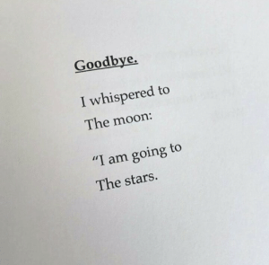 """i am going to: Goodbye,  I whispered to  The moon:  """"I am going to  The stars."""