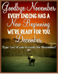 <3 Make sure you 👍 The Horse Mafia – Your Daily Stop for Inspiration! <3 MOTIVATIONAL MOMENT: Goodbye November. Every ending has a new beginning. We're ready for you, December. ~―Unknown―~ Type 'yes' if you're ready for December!: Goodbye Novemb  EVERY ENDING HAS A  Beginning  elo WE'RE READY FOR YOU  ecember  Unknown  Type yes if you're ready for December! <3 Make sure you 👍 The Horse Mafia – Your Daily Stop for Inspiration! <3 MOTIVATIONAL MOMENT: Goodbye November. Every ending has a new beginning. We're ready for you, December. ~―Unknown―~ Type 'yes' if you're ready for December!