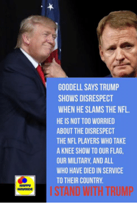 GOODELL SAYS TRUMP  SHOWS DISRESPECT  WHEN HE SLAMS THE NFL.  HE IS NOT TOO WORRIED  ABOUT THE DISRESPECT  THE NFL PLAYERS WHO TAKE  A KNEE SHOW TO OUR FLAG  OUR MILITARY, AND ALL  WHO HAVE DIED IN SERVICE  TO THEIR COUNTRY.  HAPPS  HAURIDE  ISTAND WITH TRUMP #Goodell says Trump should not disrespect the #NFL