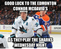 Memes, National Hockey League (NHL), and Wednesday: GOODLUCK TO THE EDMONTON  CONNOR MCDAVIDS  SPOR  gettyi  nhl ref  WEDNESDAY NIGHT I hear there might be other players on the team too but it's unconfirmed